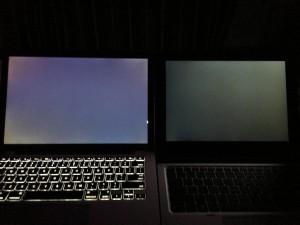 MacBook Pro 13和Elite x2 1012 G1漏光对比