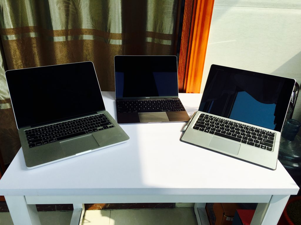 MacBook Pro 13、MacBook 12和Elite x2 1012 G1合照