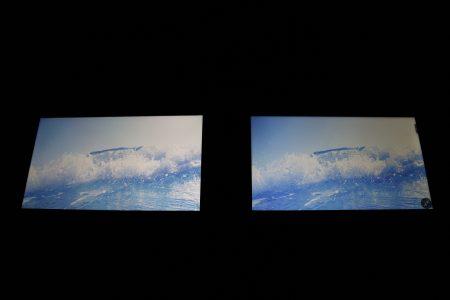 iPhone 7 Plus(左)与坚果Pro(右)屏幕表现对比