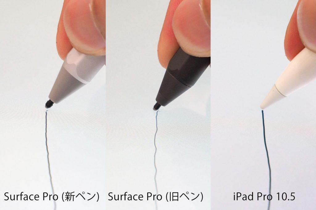 视差测试。新Surface Pen和Apple Pencil都很优秀,可以看出旧的Surface手写笔光标偏向笔尖右侧