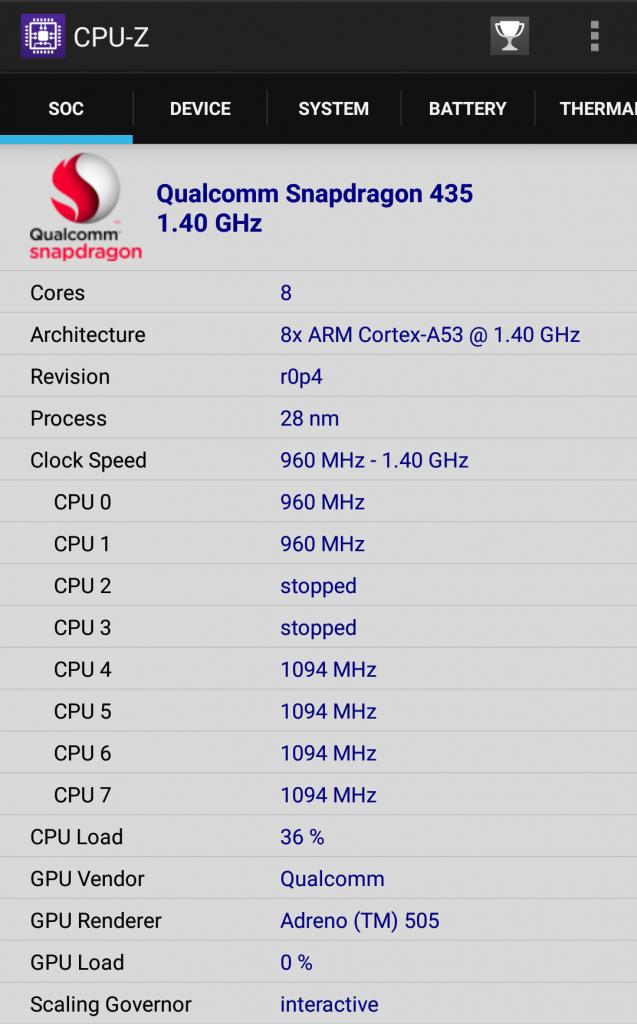 CPU-Z截图(1)(比较奇怪的是,明明规格表上写的是MSM8937,到了CPUZ却变成了S435了)
