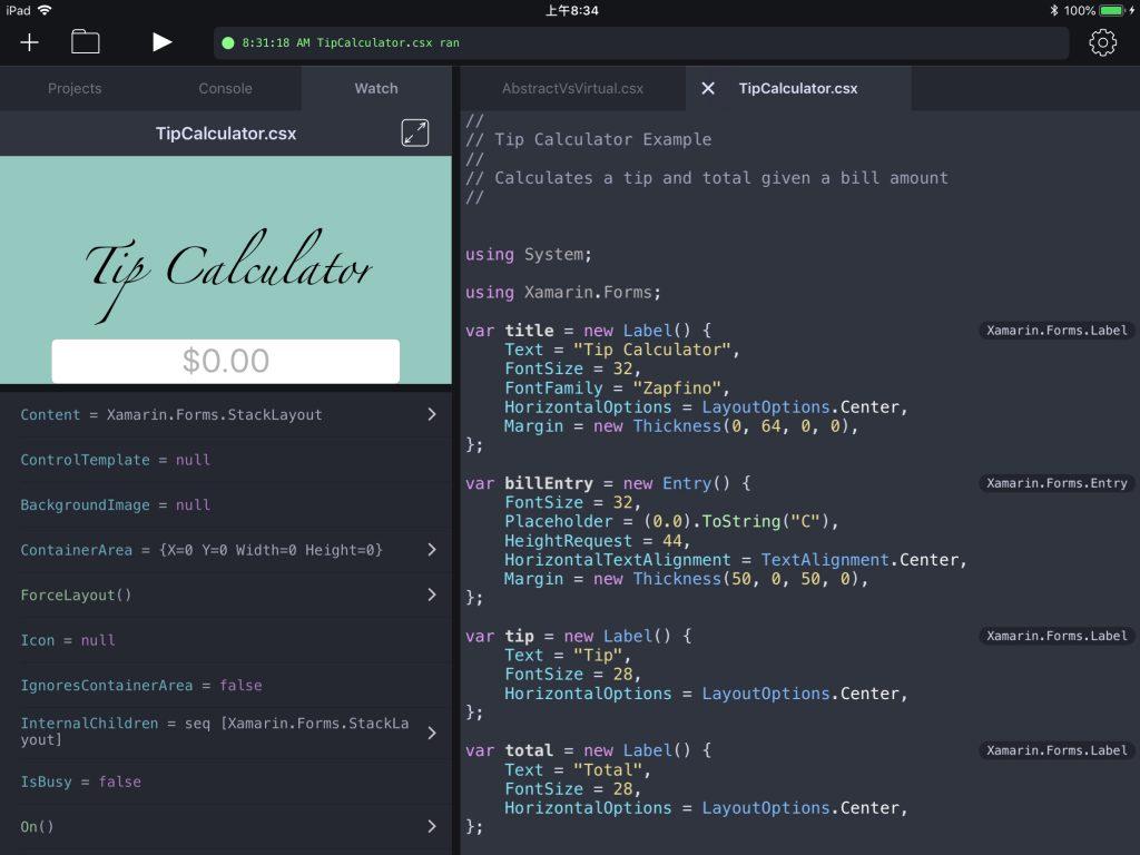 Continuos中编辑Xamarin.Forms代码