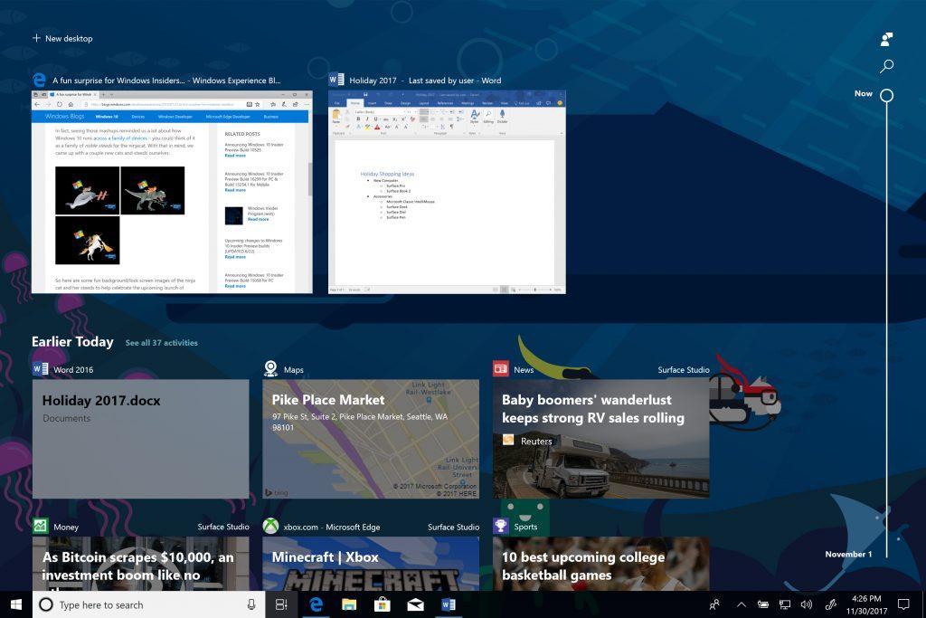 Windows 10中的Timeline功能