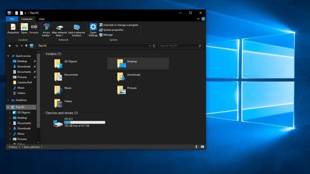 """Windows 10的""""黑暗模式"""""""