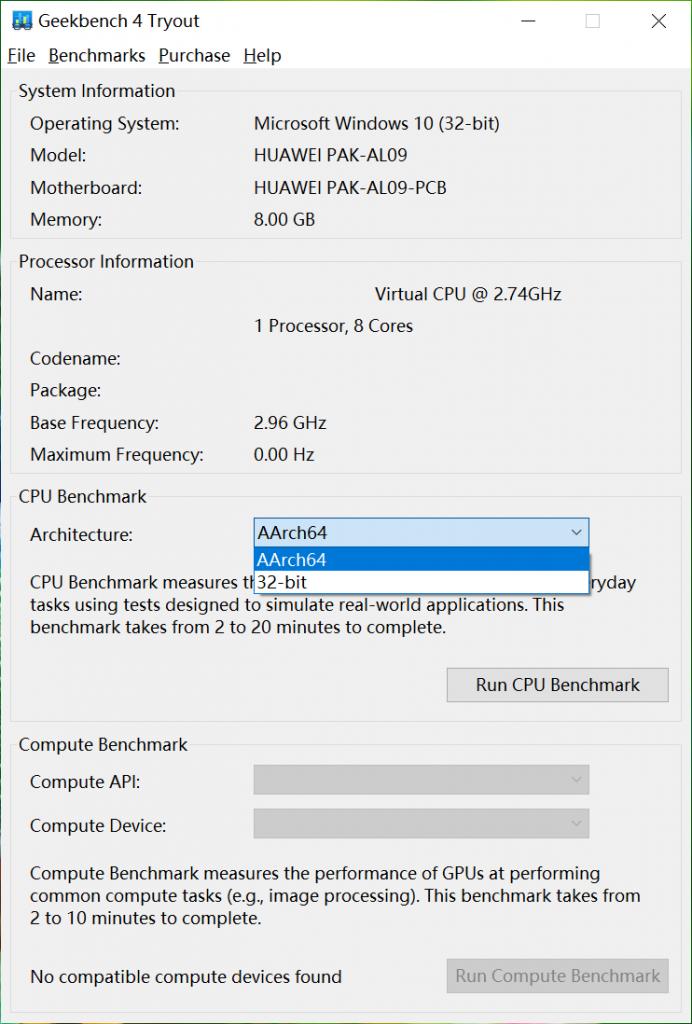 Geekbench 4对ARM的Windows设备跑分内容