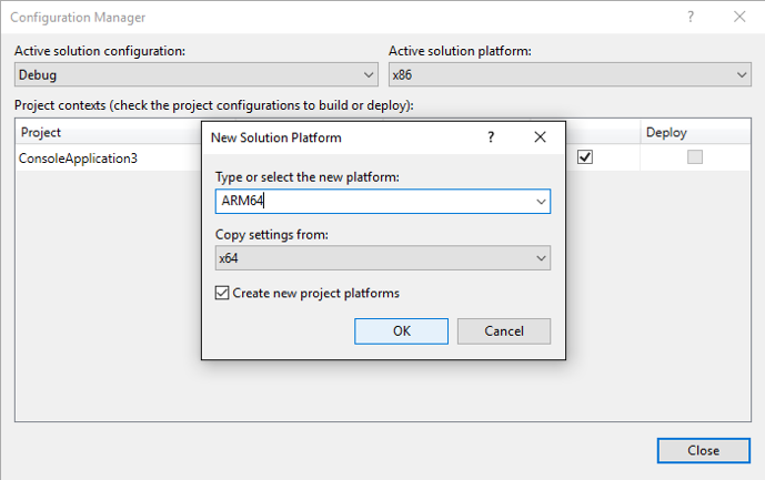 Visual Studio编译ARM64程序